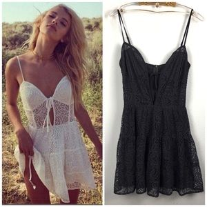For Love and Lemons black lace Baby Cakes dress